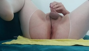 Chubby gay in nylons with toy in the ass