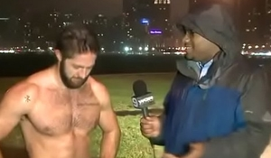 fucking hot hairy dude running shirtless in the rain