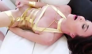 Busty tgirl Jonelle Brooks suck n anal reamed until she cums