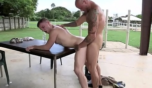 Muscly gay jocks having anal pounding outdoors