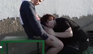 Blowjob &amp_ cum eating outdoor. RAF035