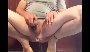 PISSING WITH A DILDO IN MY CONTRACTING BUTTHOLE