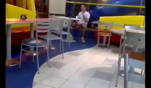 Horny guy jerking-off at McDonald's