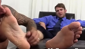 Gay smell and lick handsome big feet