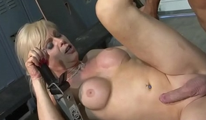 Busty shemale creampied