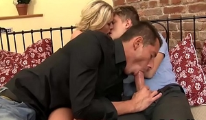 This amazing blonde and guy invited this bi dude to fuck