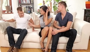 Bisexual session with one very hot brunette and two studs
