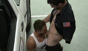 Security Guard dominates guy in parking garage