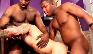 Ebony hunk pissing before interracial sex
