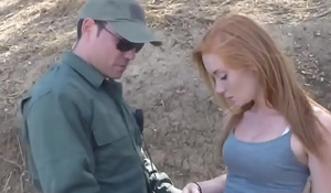 Pale skin teenager in full naked glory seducing border officer