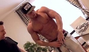Muscular hottie will strip for cash
