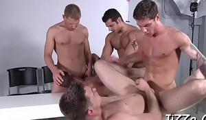 Males with large cocks fuck cheerful parcel out in amazing group scenes
