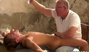Mature maledom edging his roped all round submissive