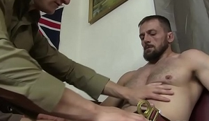 Young blond scout bareback by commander after fellatio
