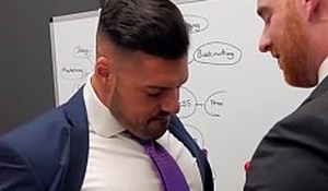 Bearded businessman hunk rack up some tight last analysis