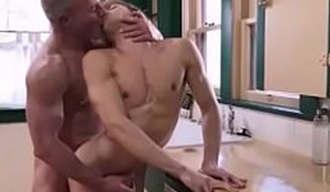 Silver Daddy eats and Fuck his Teen bareback in the kitchen- GayDaddyTwink.com