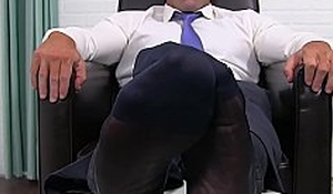Adult dressed to kill gentleman shows off his yummy feet and toes