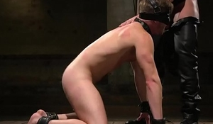 Tiedup bdsm hunk clamped after cocksucking