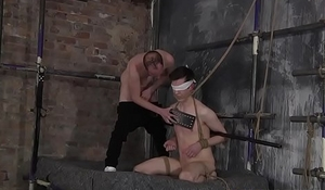 Blindfolded twink receives a facial as punishment from dom