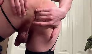 Dressed Up Sissy Toys Ass Encircling Dildo