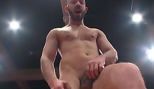 Muscle jocks fight roughly before cocksucking